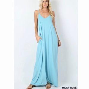 Milky Blue V-Neck Cami Maxi Dress